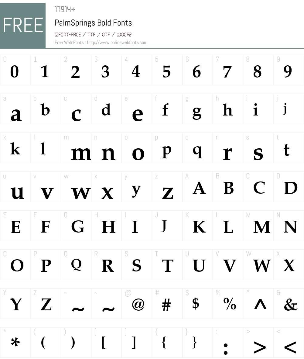 PalmSprings Font Screenshots