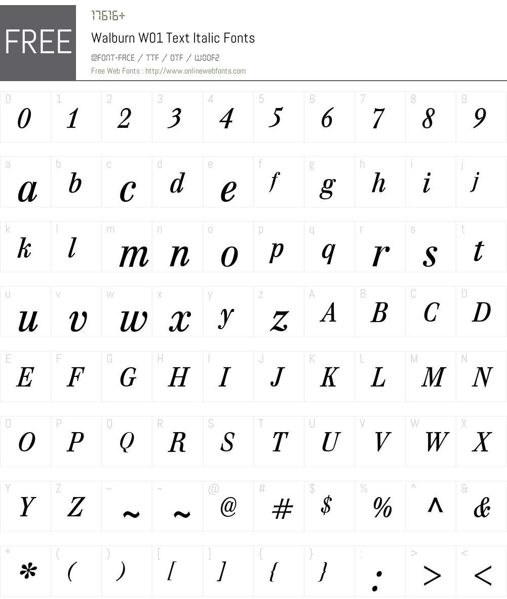 WalburnW01-TextItalic Font Screenshots