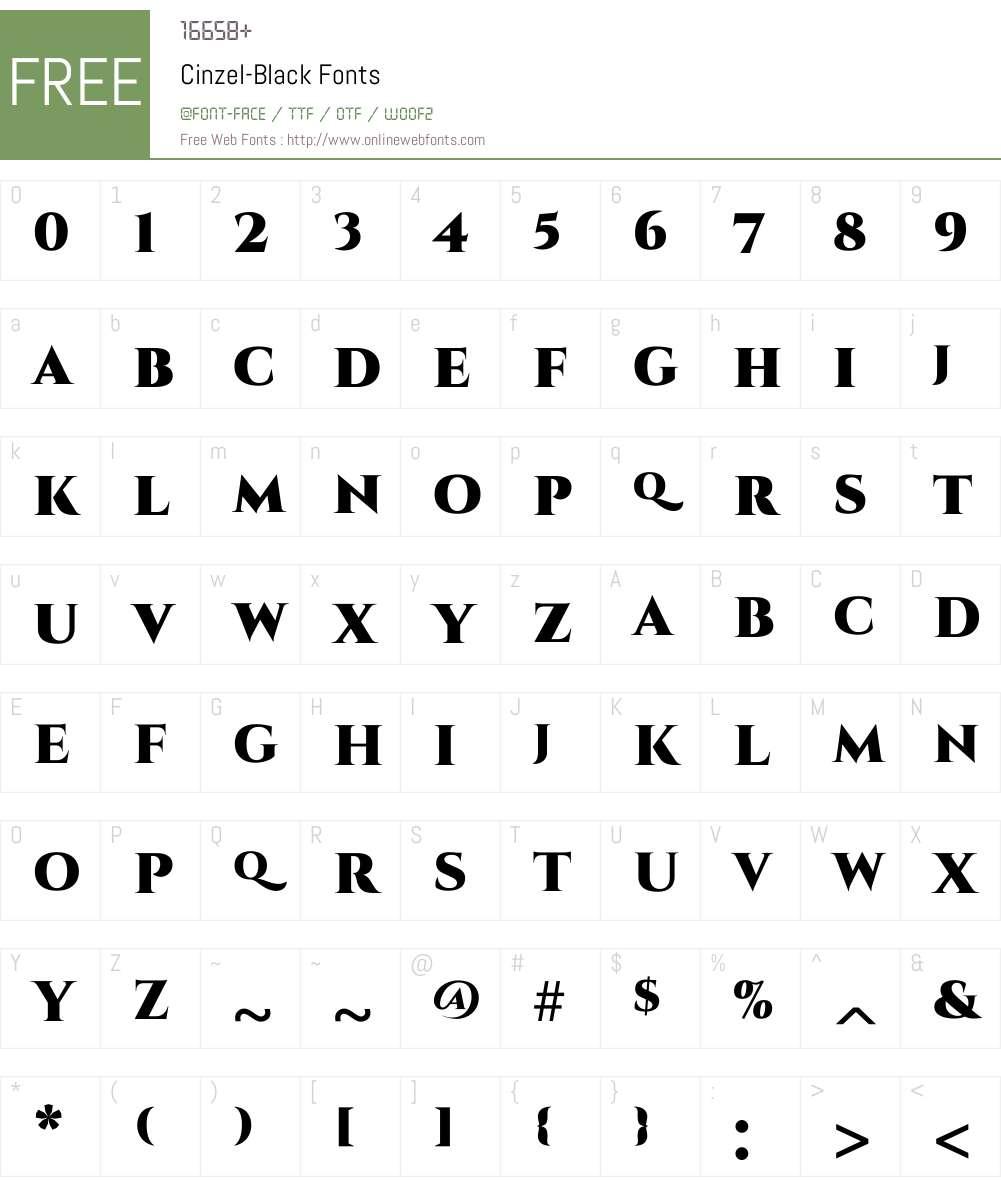 Cinzel Black Font Screenshots
