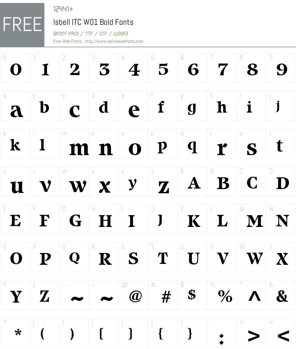 IsbellITCW01-Bold Font Screenshots