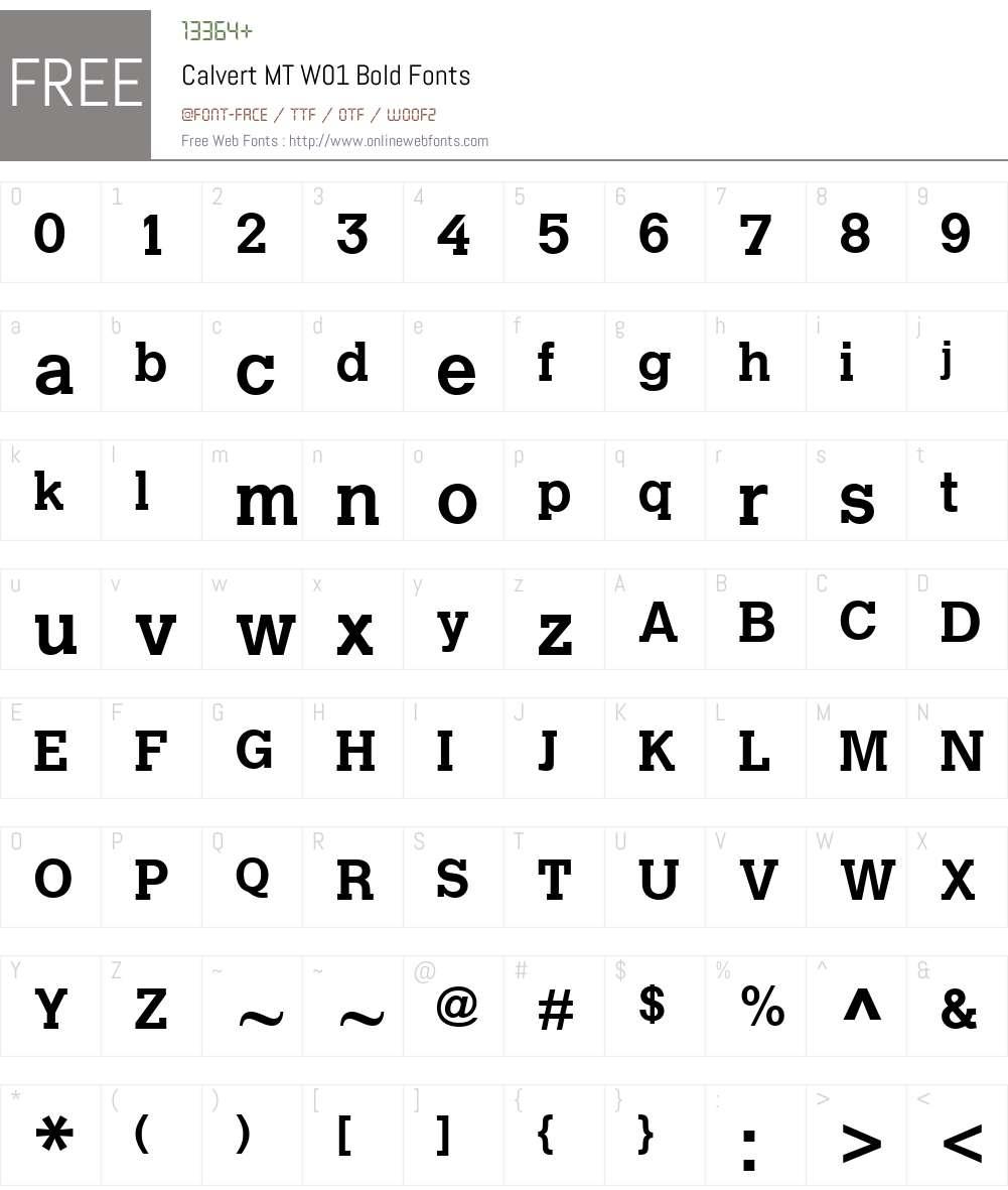 CalvertMTW01-Bold Font Screenshots
