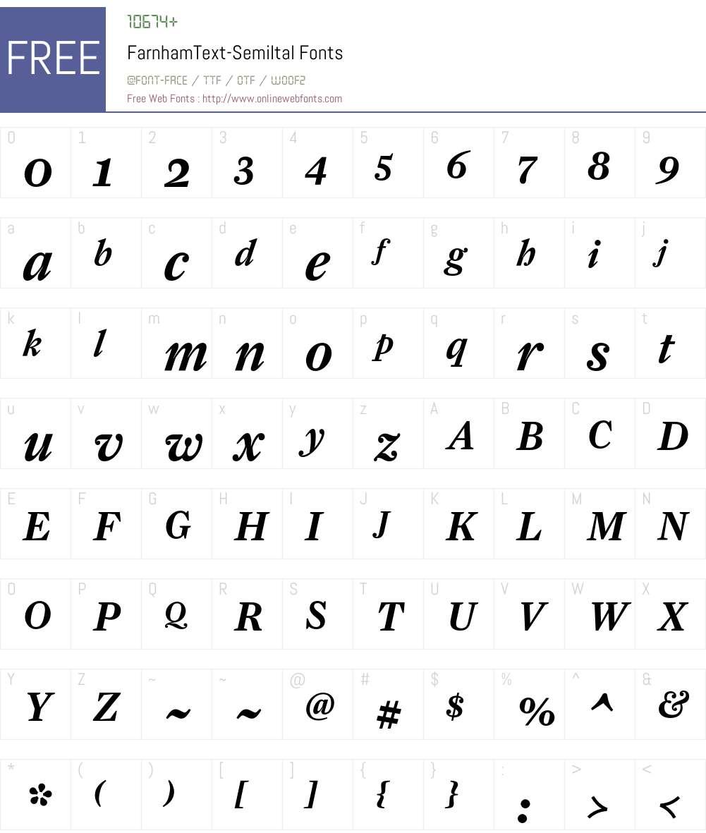 FarnhamText-SemiItal Font Screenshots