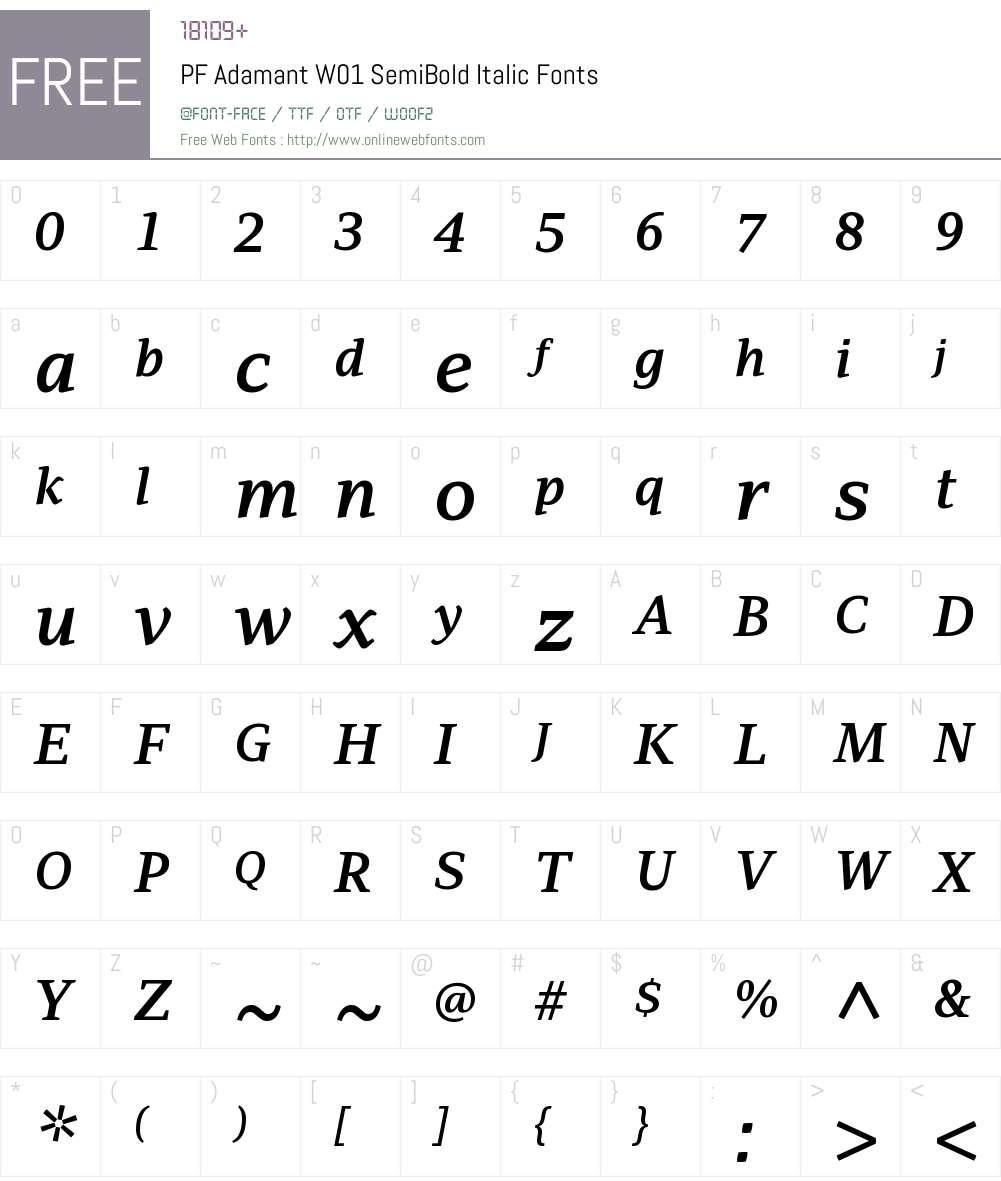 PFAdamantW01-SemiBoldItalic Font Screenshots