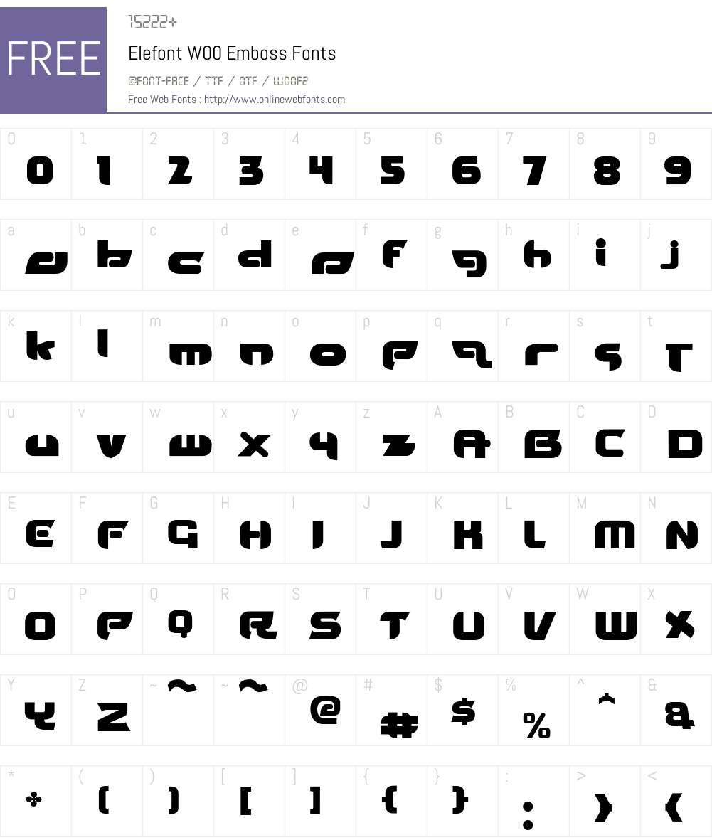 ElefontW00-Emboss Font Screenshots