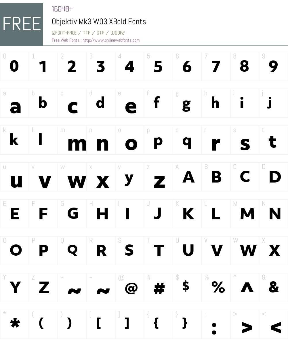 ObjektivMk3W03-XBold Font Screenshots