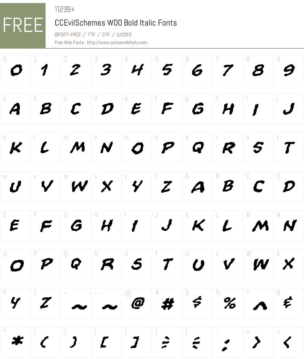 CCEvilSchemesW00-BoldItalic Font Screenshots