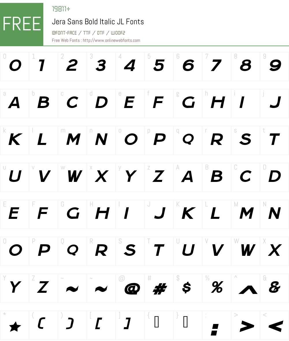 Jera Sans Bold Italic JL Font Screenshots