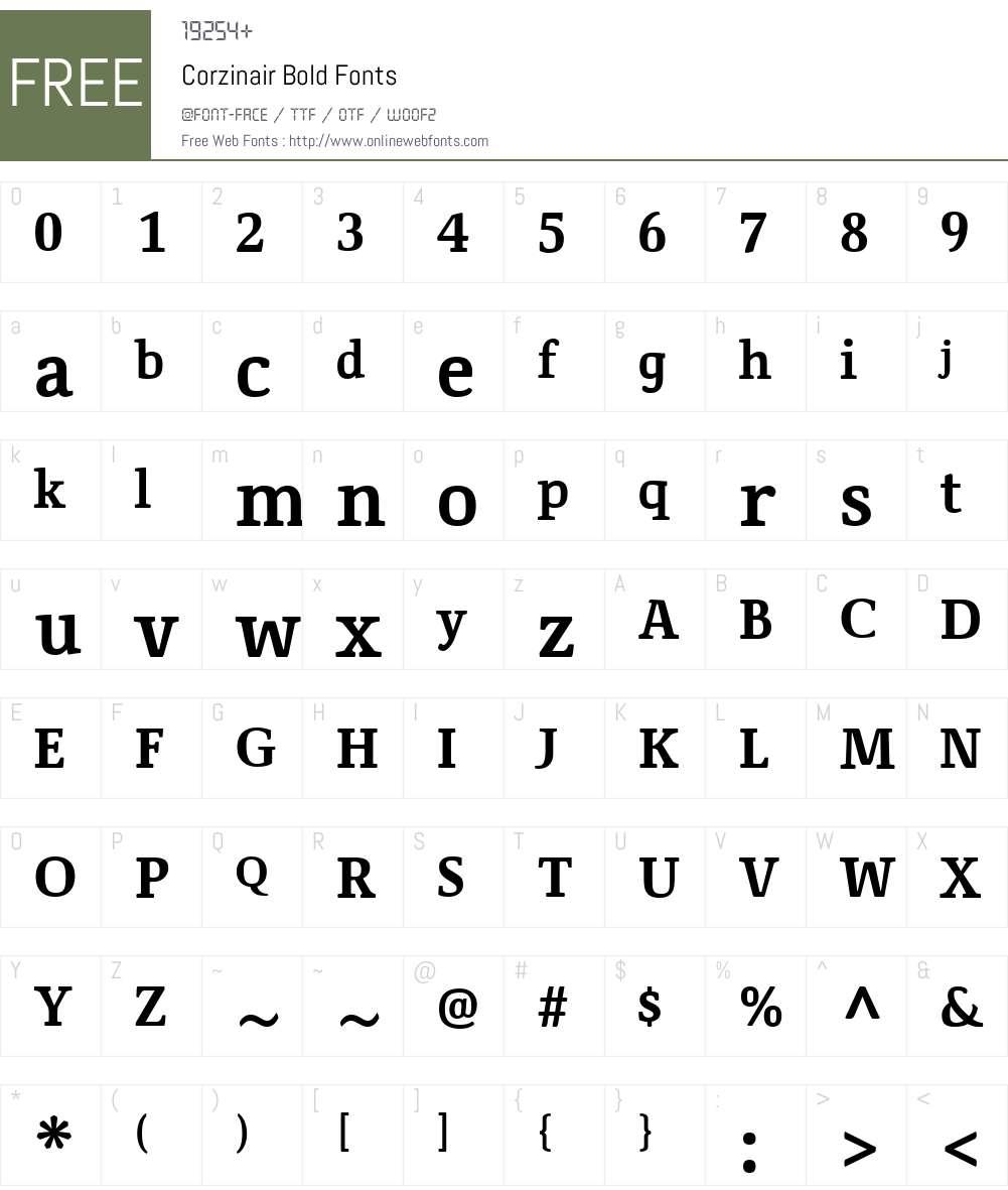 Corzinair Font Screenshots