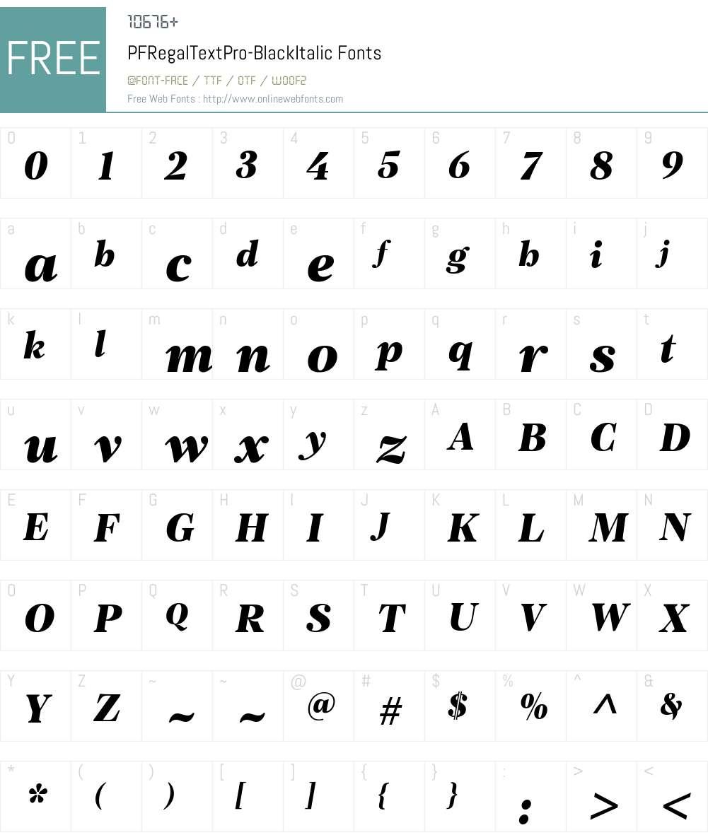 PF Regal Text Pro Black Font Screenshots