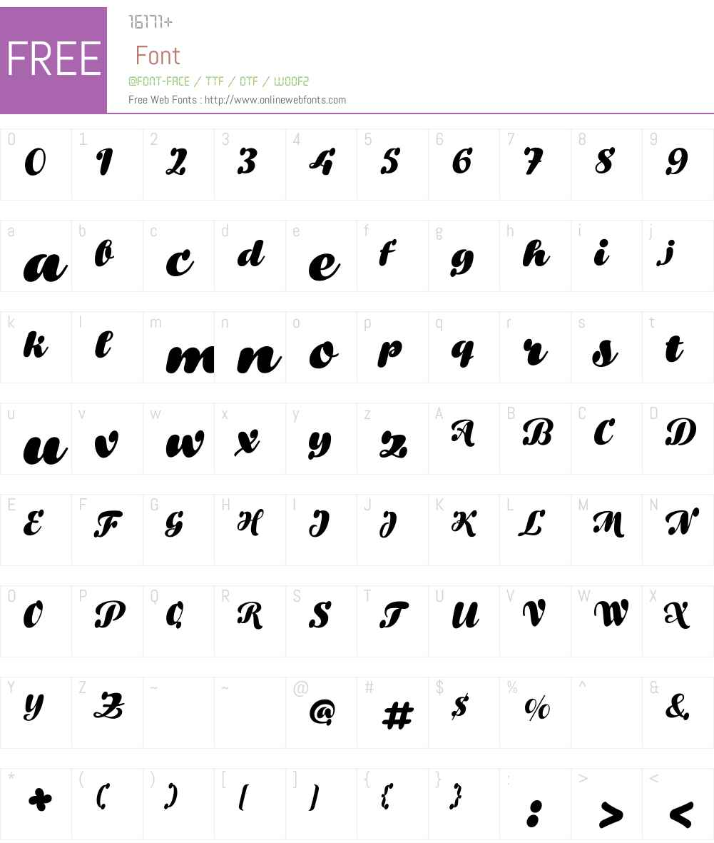Bowling Script Font Screenshots
