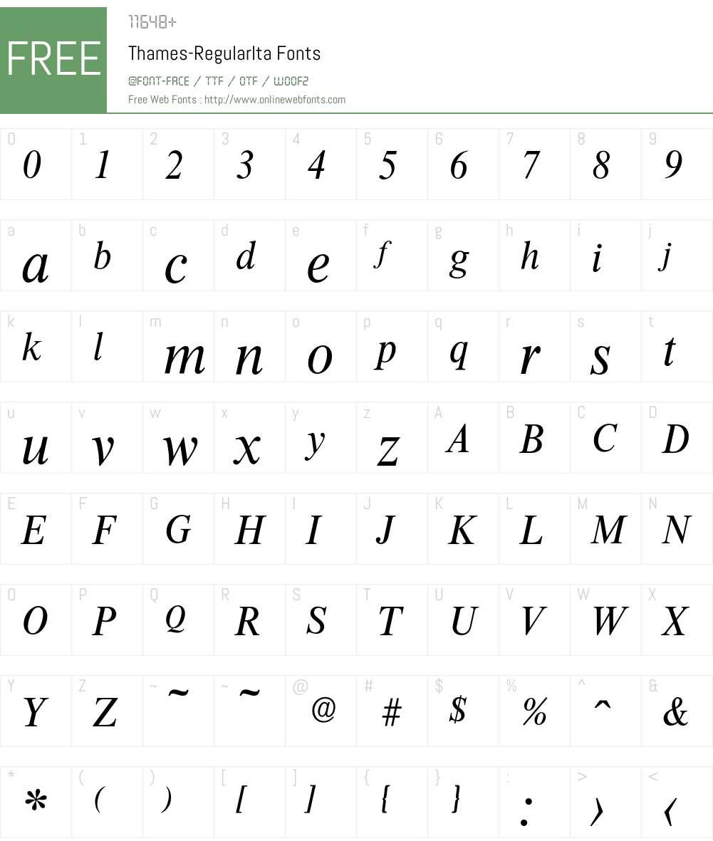 Thames-RegularIta Font Screenshots