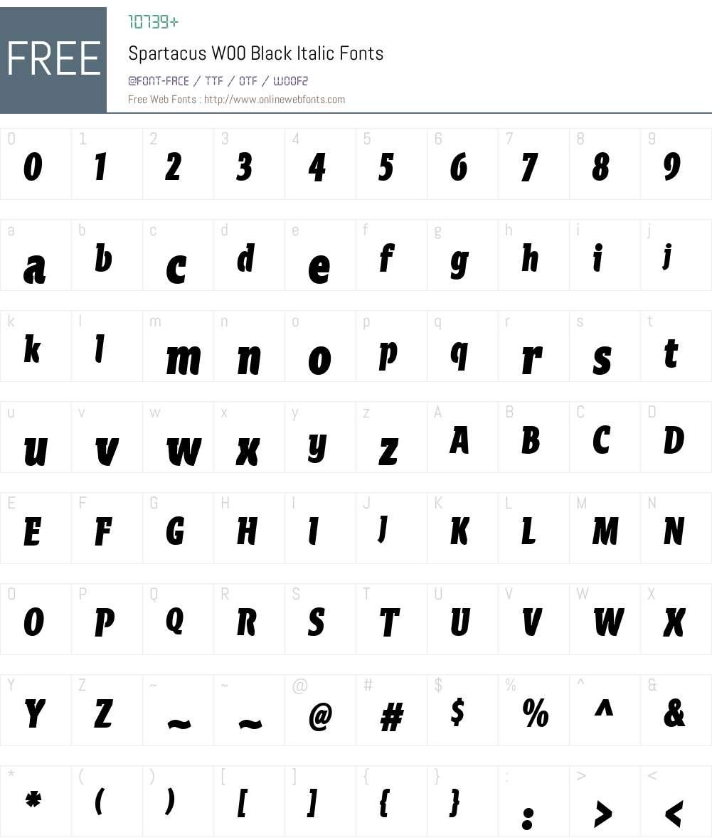 SpartacusW00-BlackItalic Font Screenshots