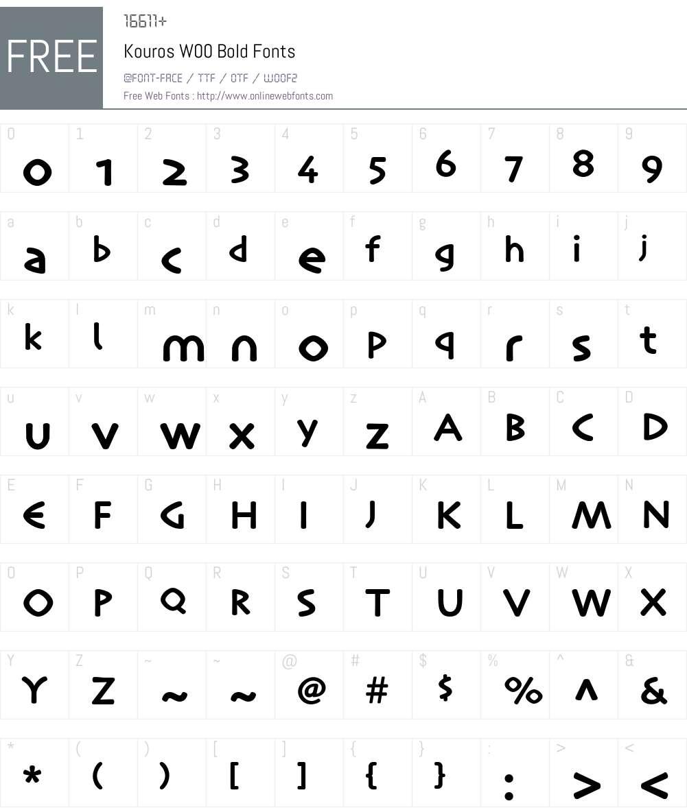 KourosW00-Bold Font Screenshots