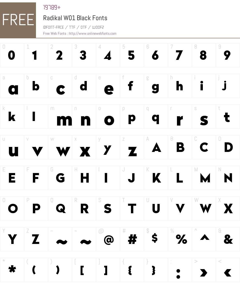 RadikalW01-Black Font Screenshots