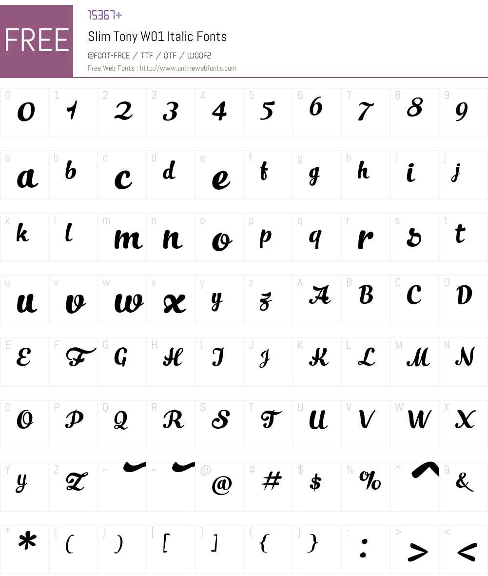 SlimTonyW01-Italic Font Screenshots