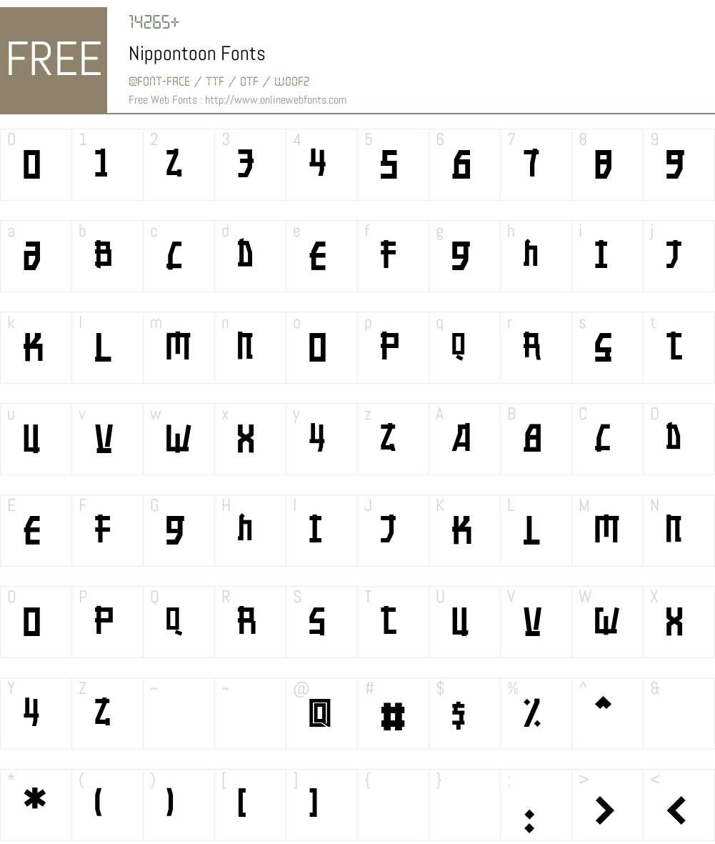 Nippontoon Font Screenshots