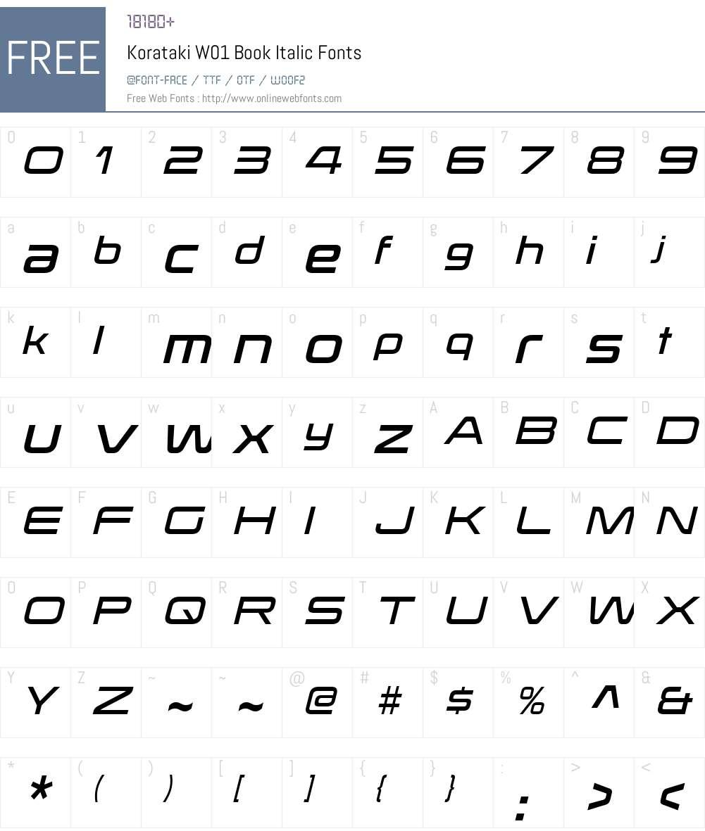 KoratakiW01-BookItalic Font Screenshots