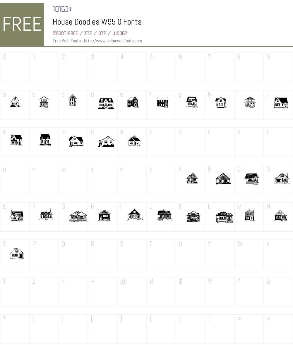 HouseDoodlesW95-0 Font Screenshots