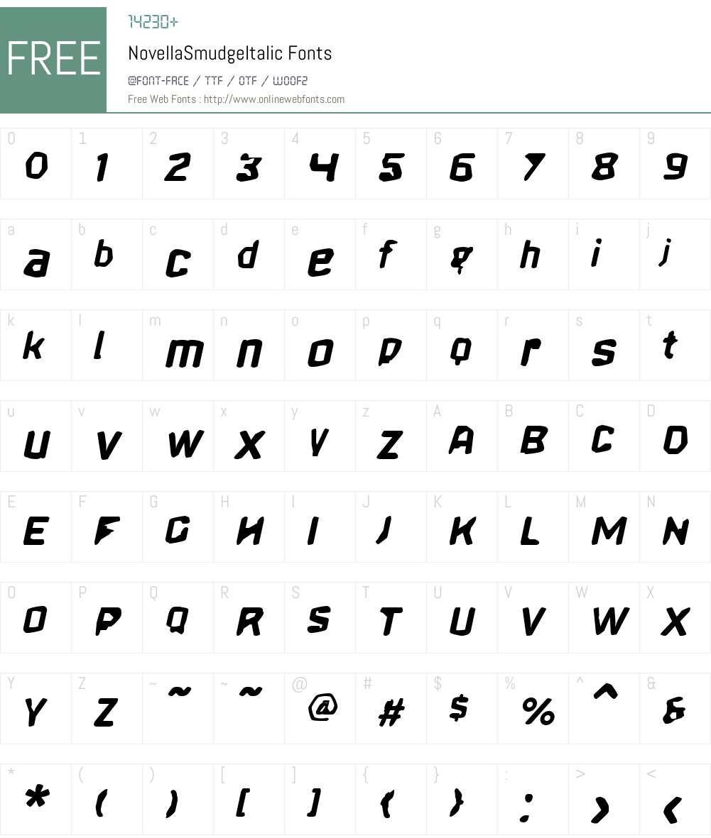 NovellaSmudgeW00-SmudgeBdIt Font Screenshots