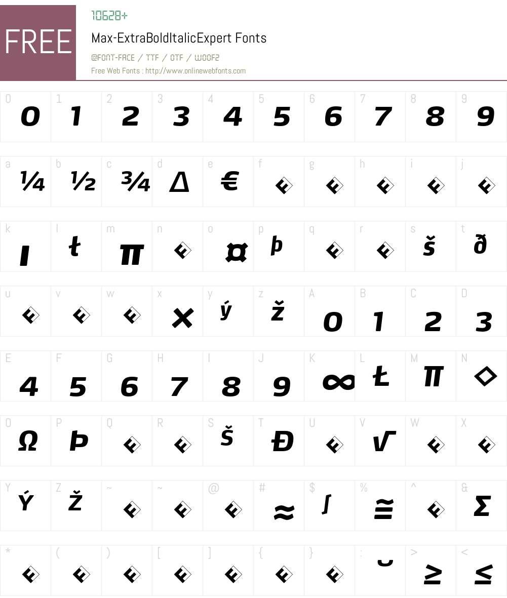 Max-ExtraBoldItalicExpert Font Screenshots