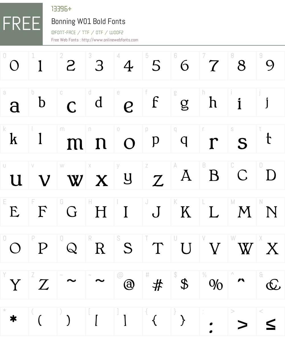 BonningW01-Bold Font Screenshots