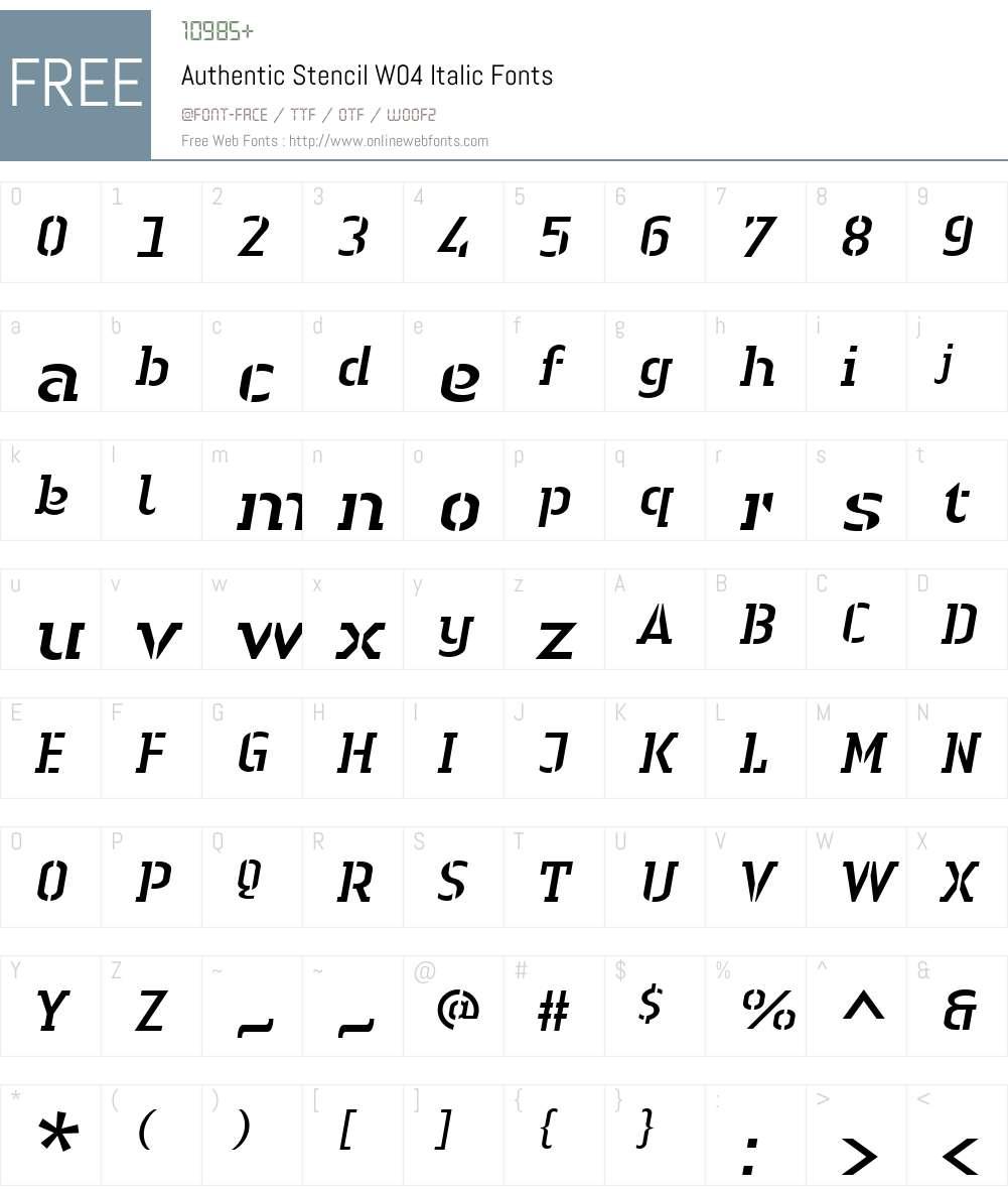 Linotype Authentic Stencil Font Screenshots