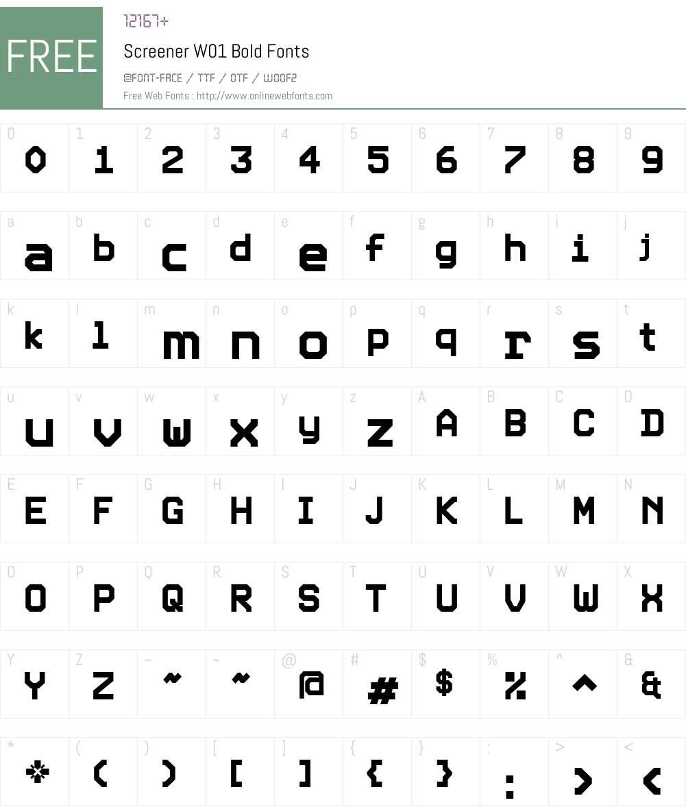 ScreenerW01-Bold Font Screenshots