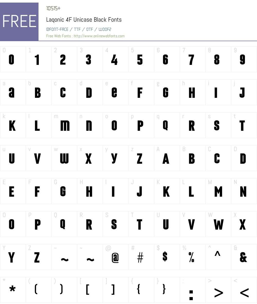 Laqonic4FUnicase-Black Font Screenshots