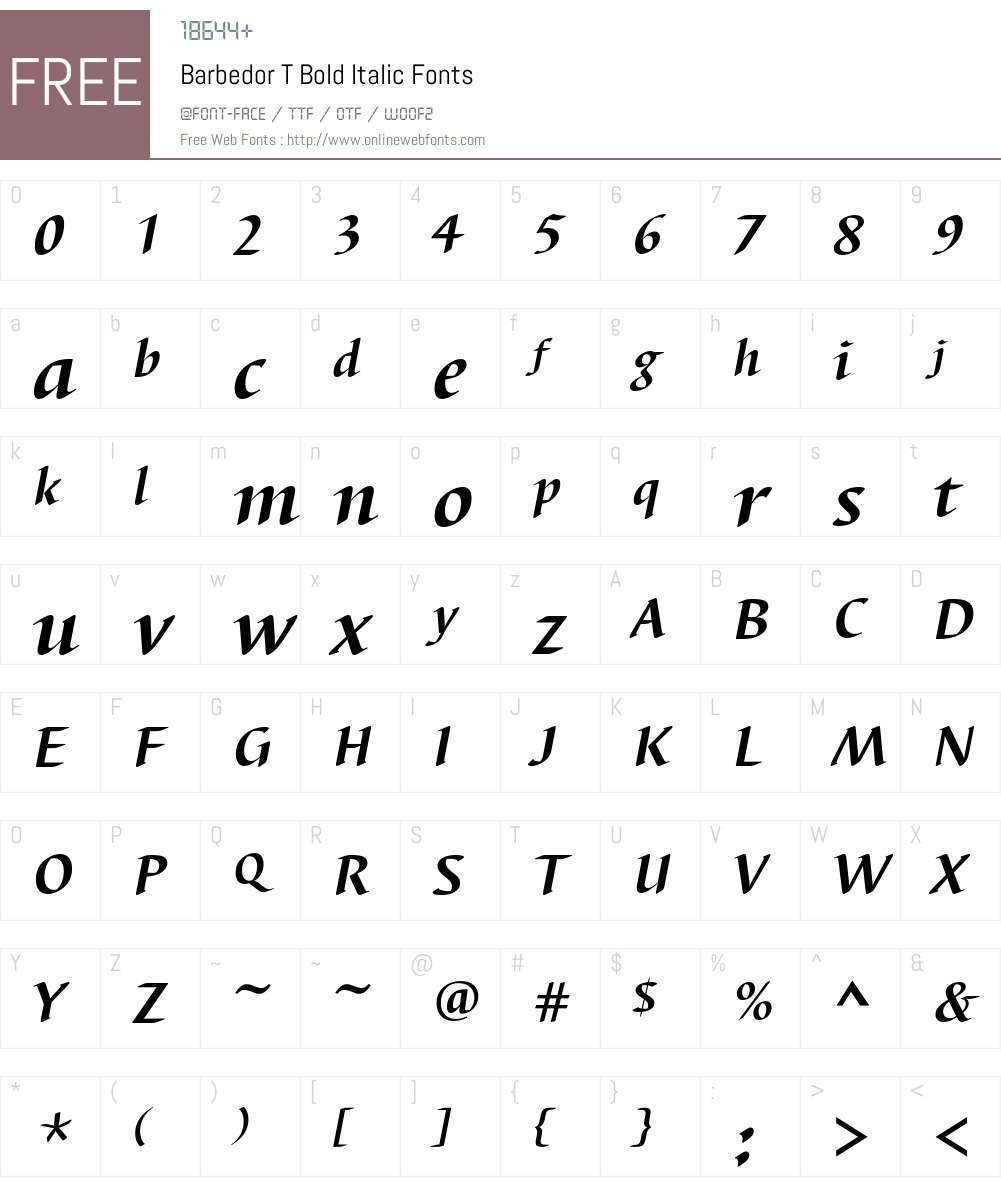 Barbedor T Font Screenshots