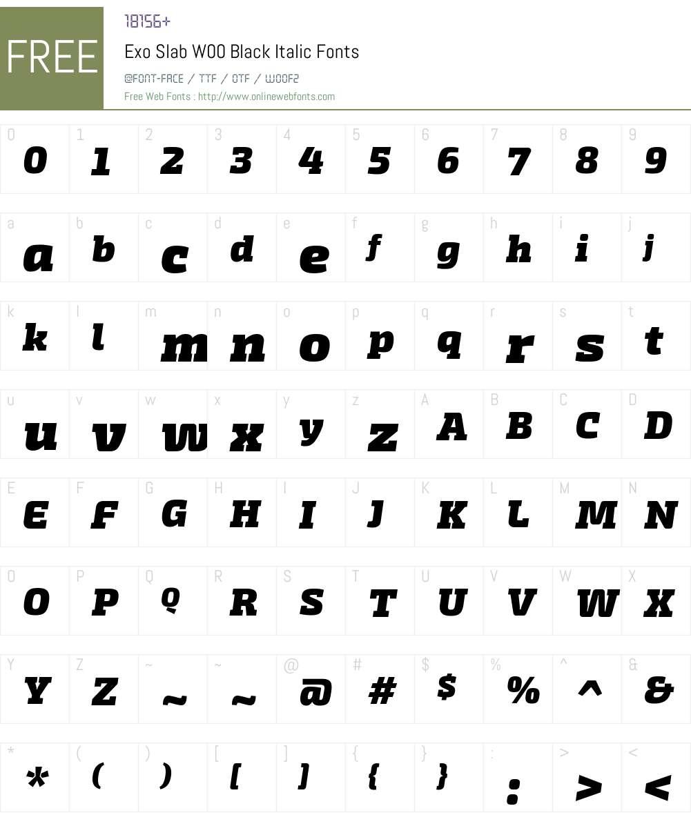 ExoSlabW00-BlackItalic Font Screenshots