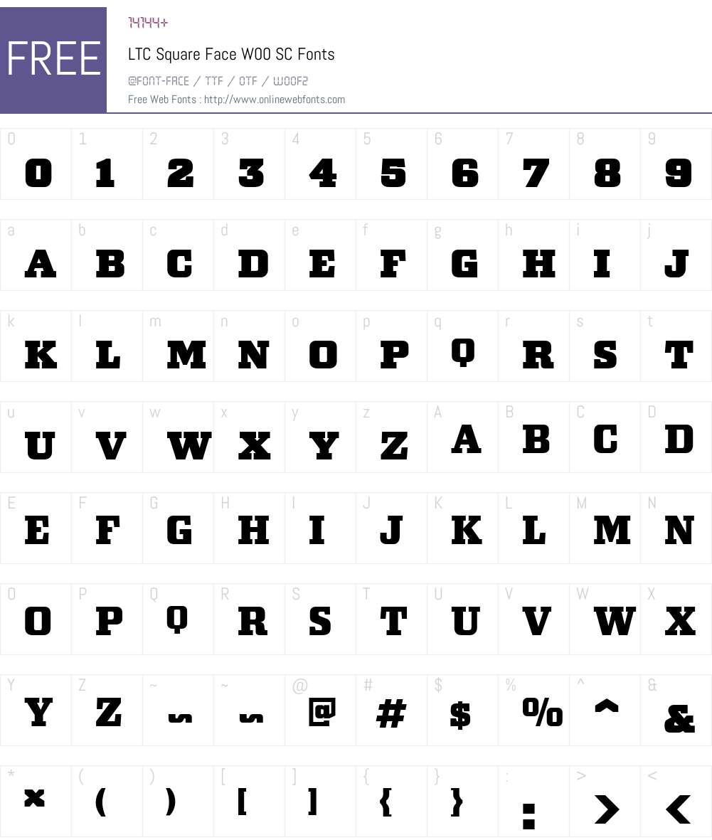 LTCSquareFaceW00-SC Font Screenshots