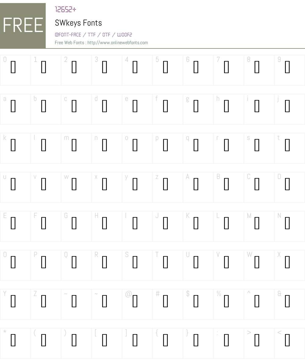 SWkeys Font Screenshots