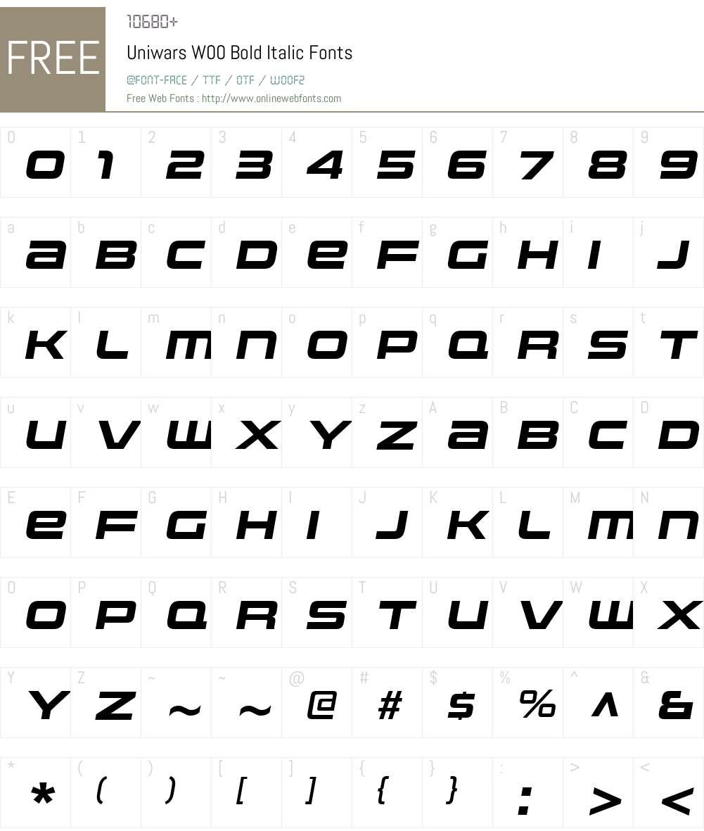 UniwarsW00-BoldItalic Font Screenshots