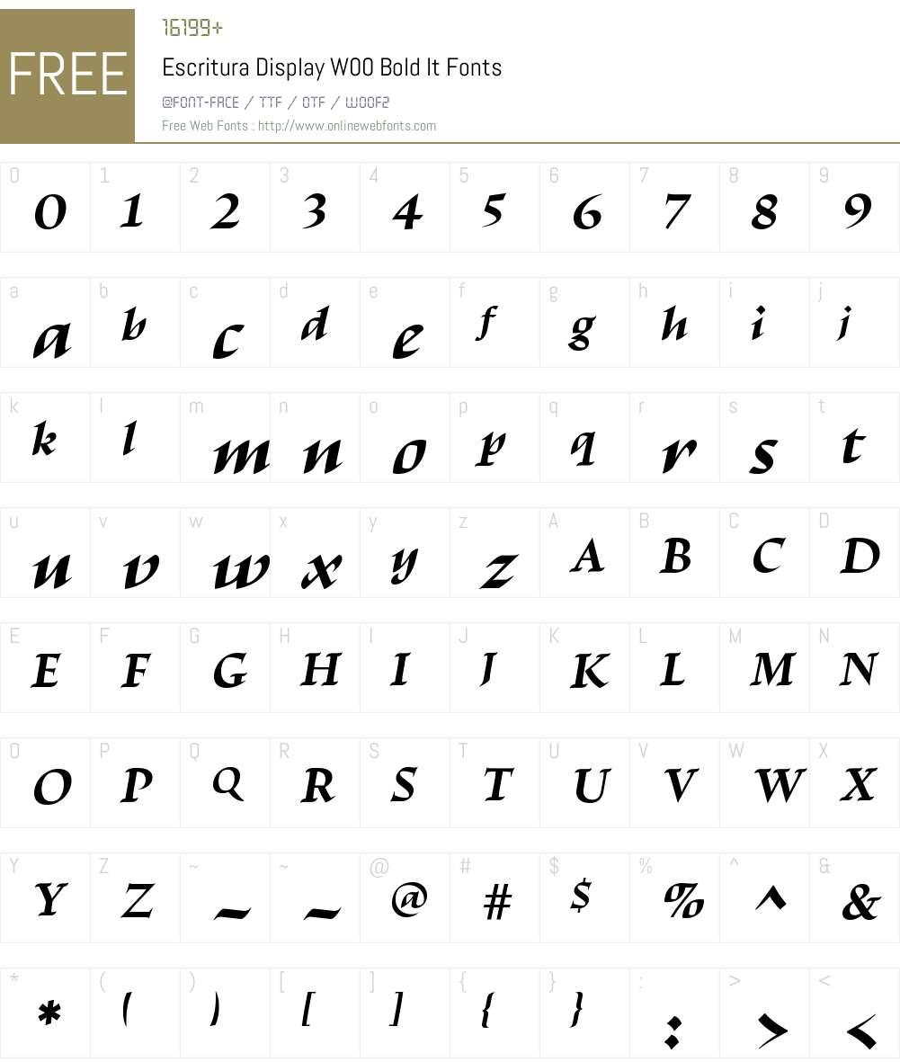 EscrituraDisplayW00-BoldIt Font Screenshots