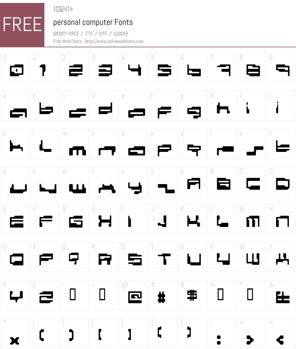 personal computer Font Screenshots