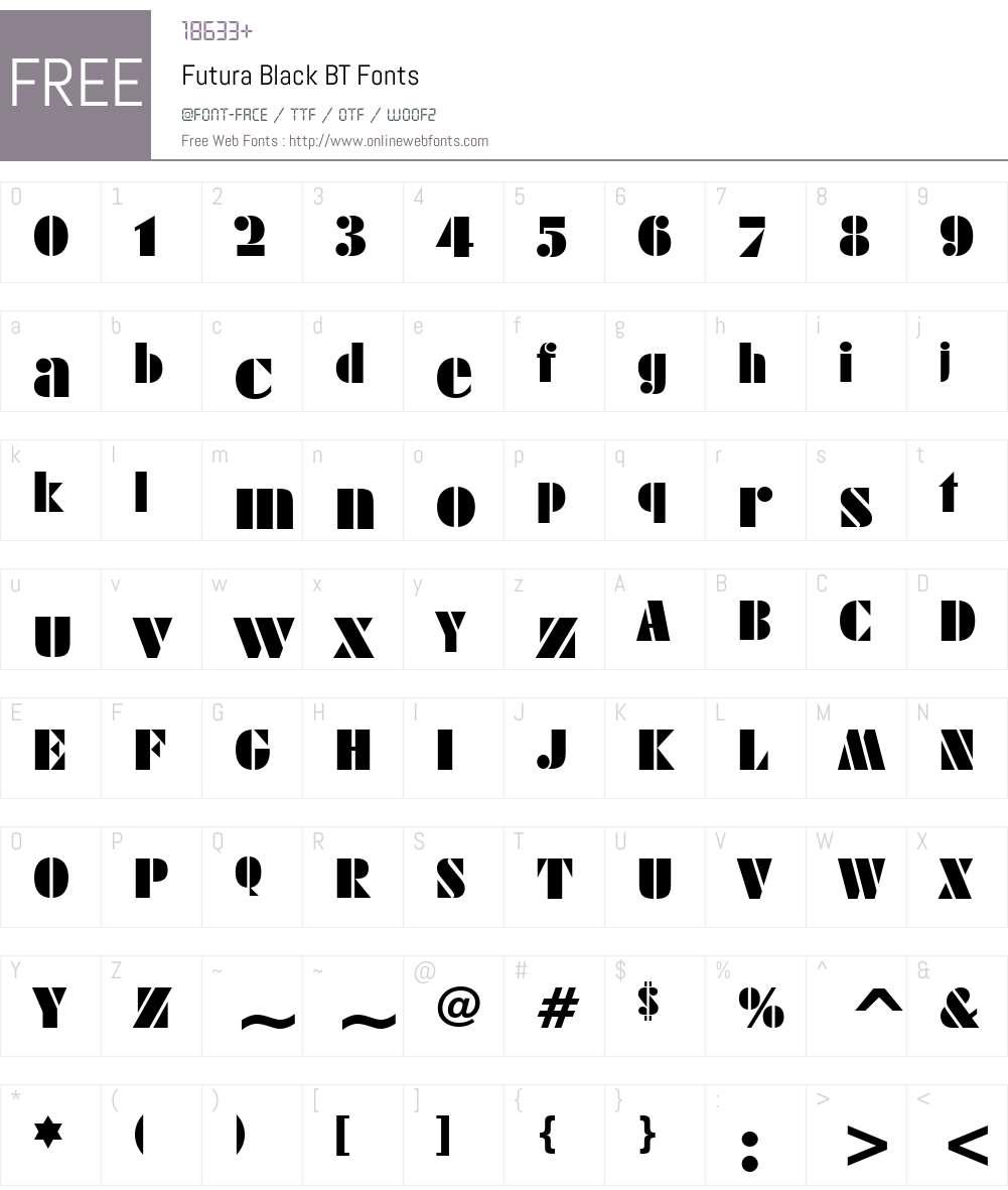 FuturaBlack BT Font Screenshots