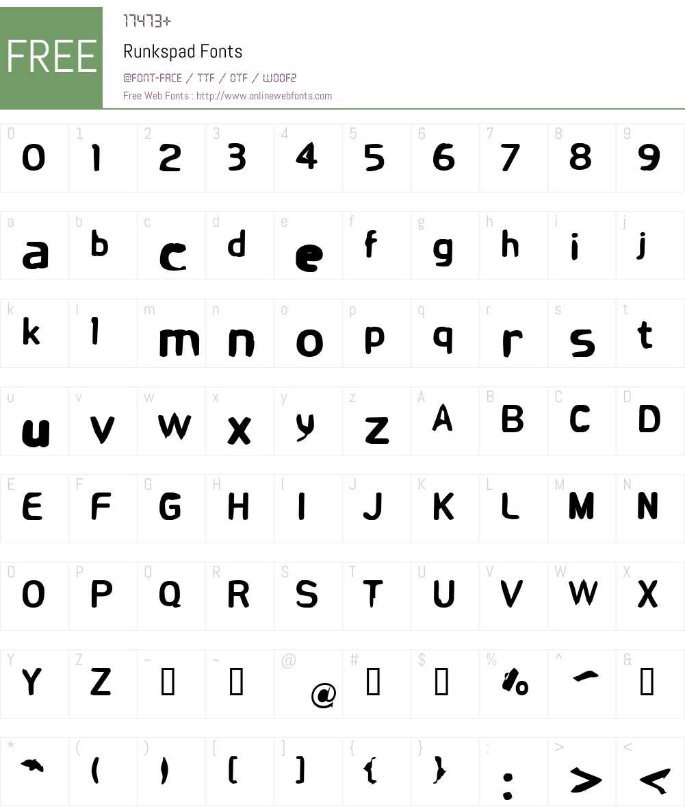 Runkspad Font Screenshots