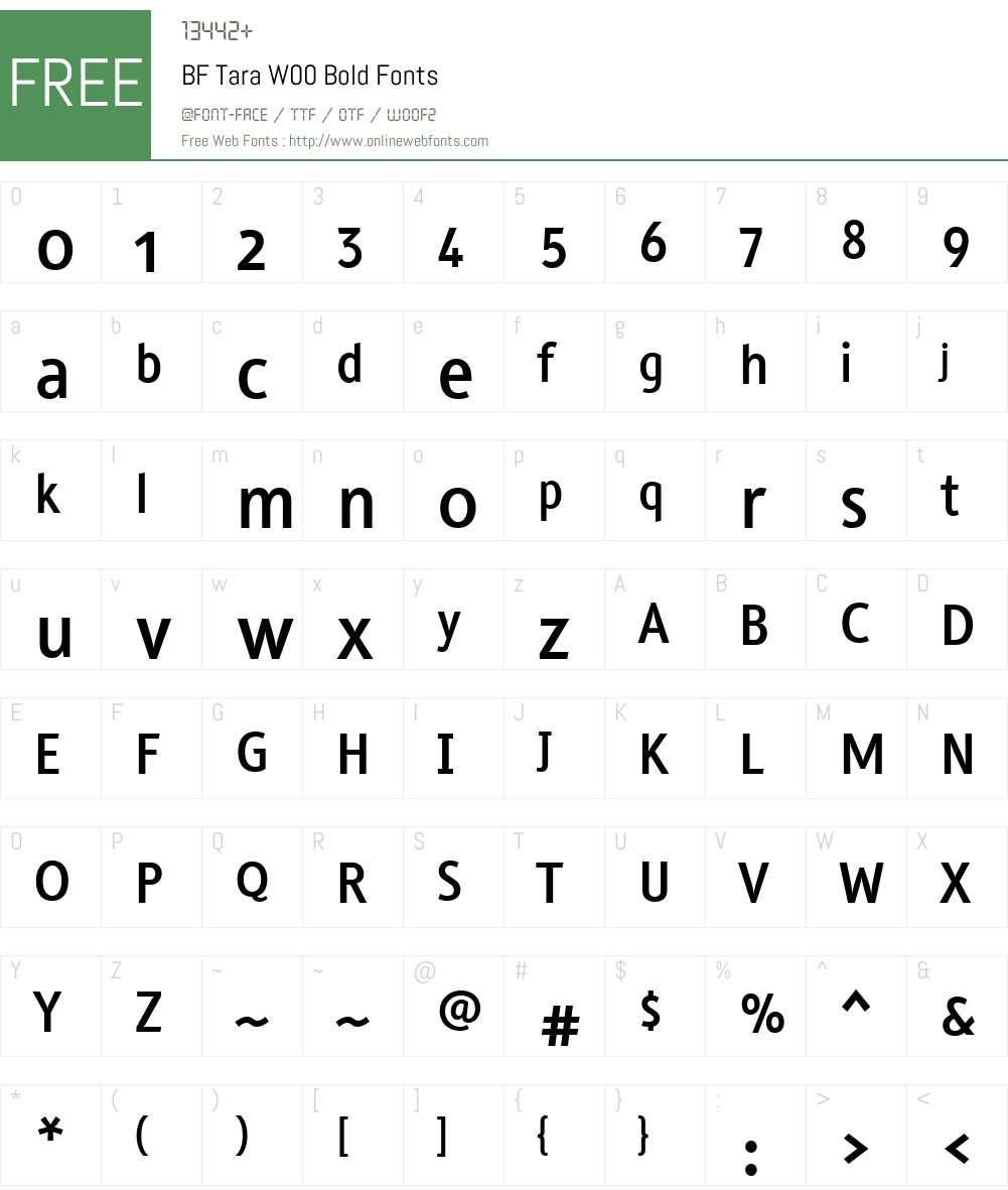 BFTaraW00-Bold Font Screenshots
