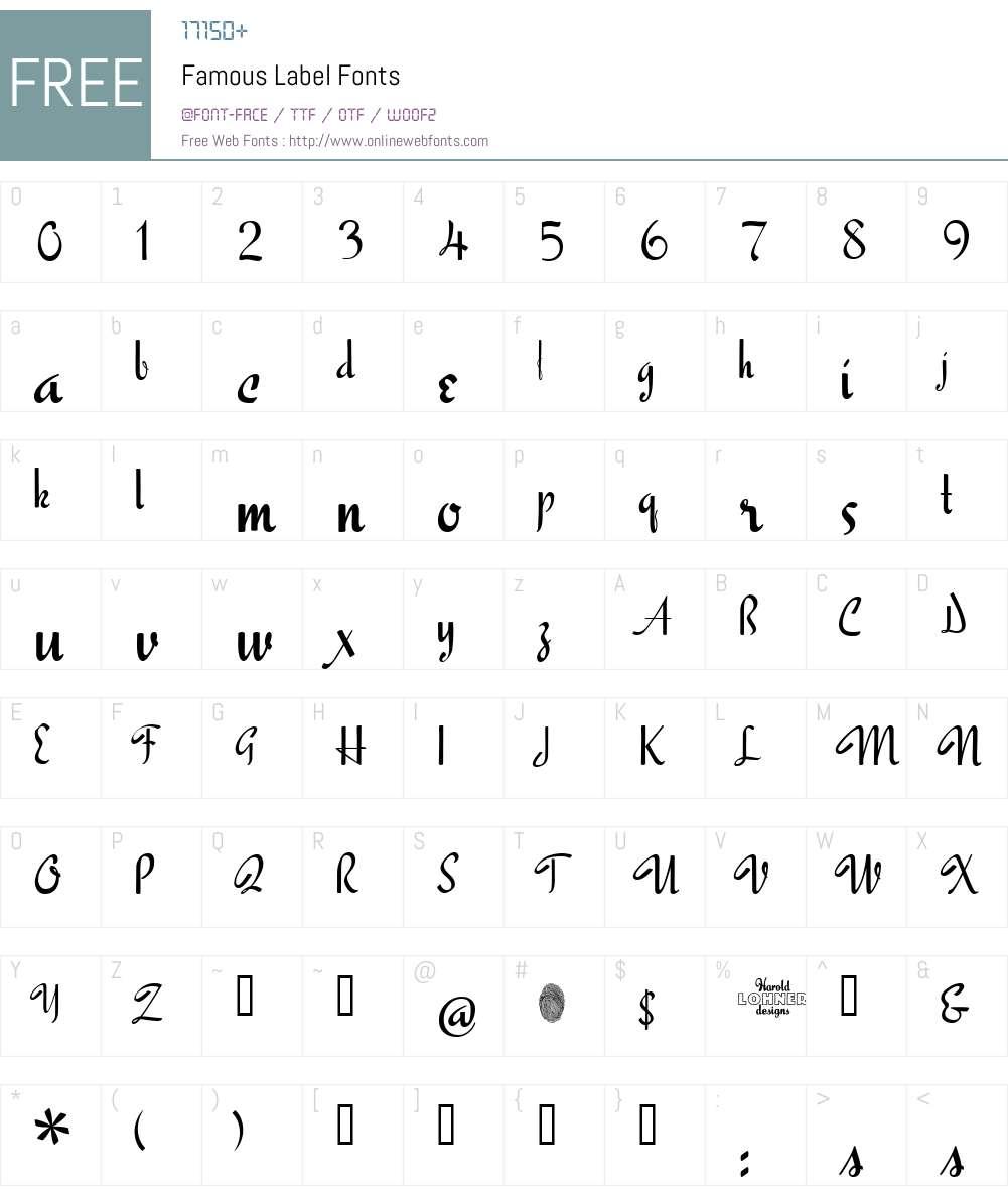 Famous Label Font Screenshots