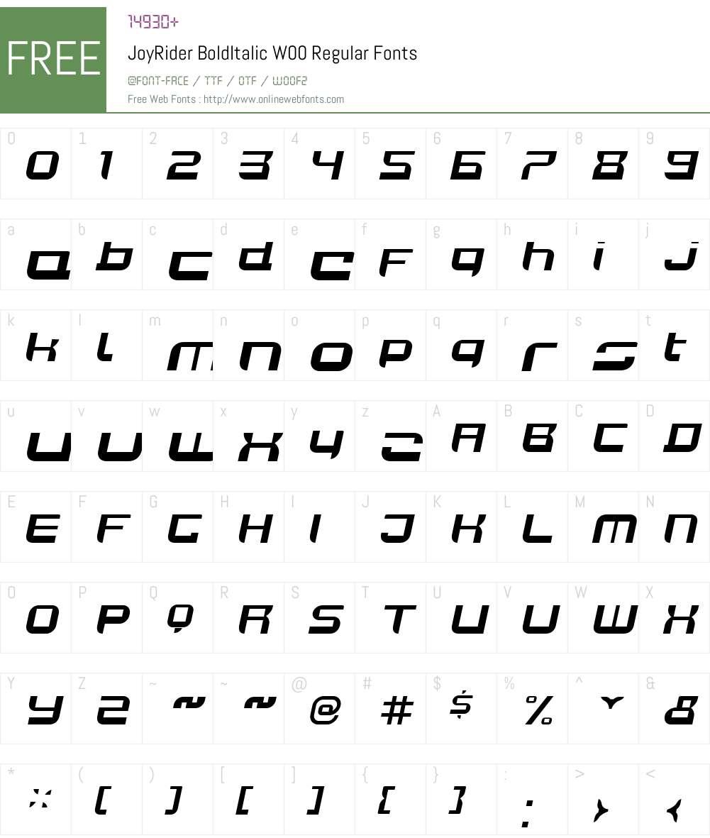 JoyRiderBoldItalicW00-Rg Font Screenshots