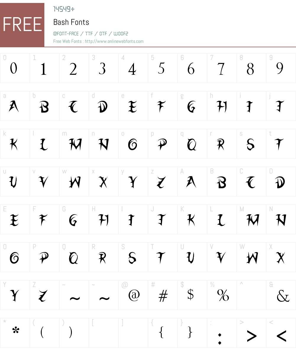Bash Font Screenshots
