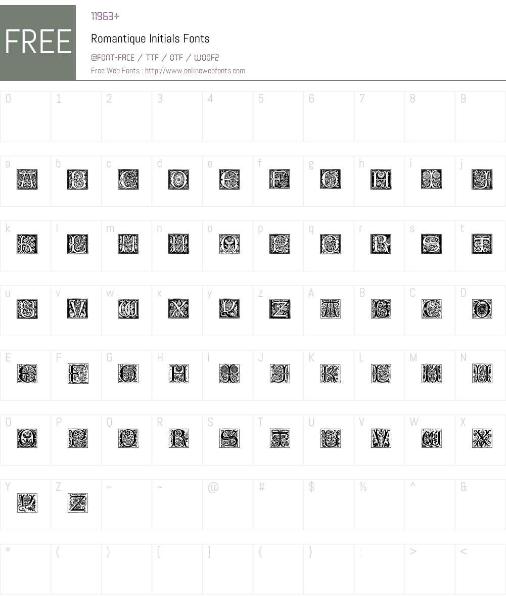 Romantique Initials Font Screenshots
