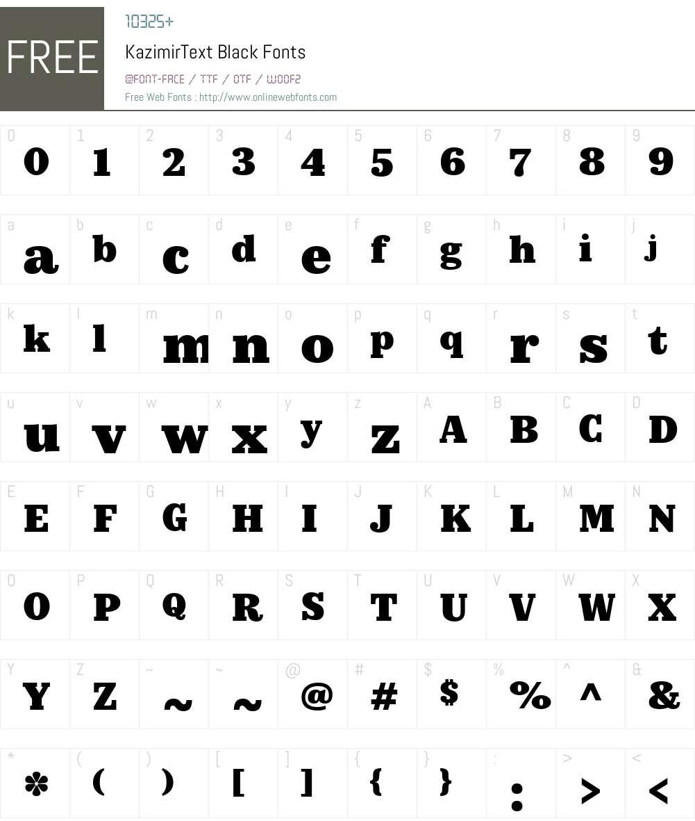 KazimirText-Black Font Screenshots