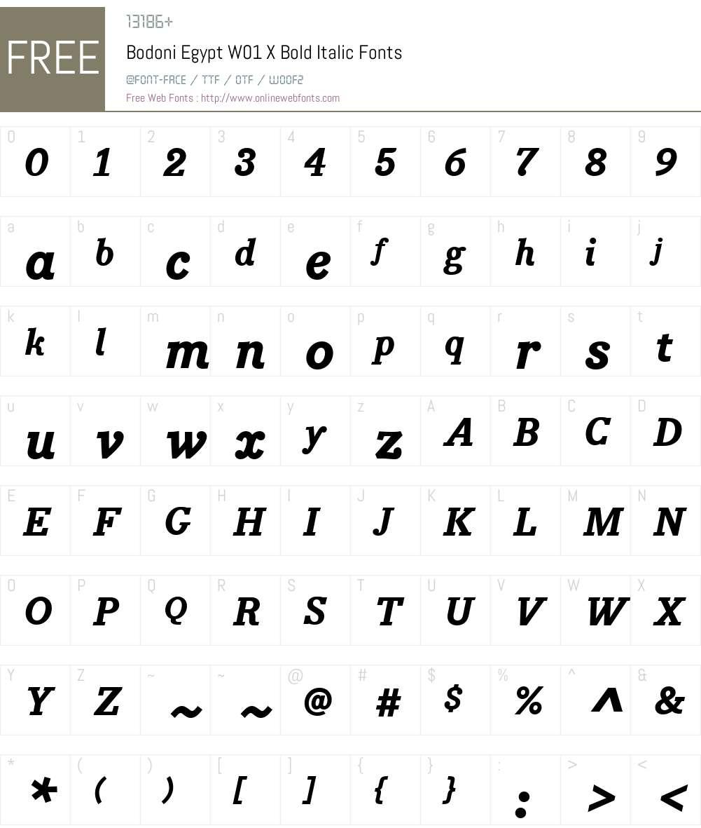 BodoniEgyptW01-XBoldItalic Font Screenshots