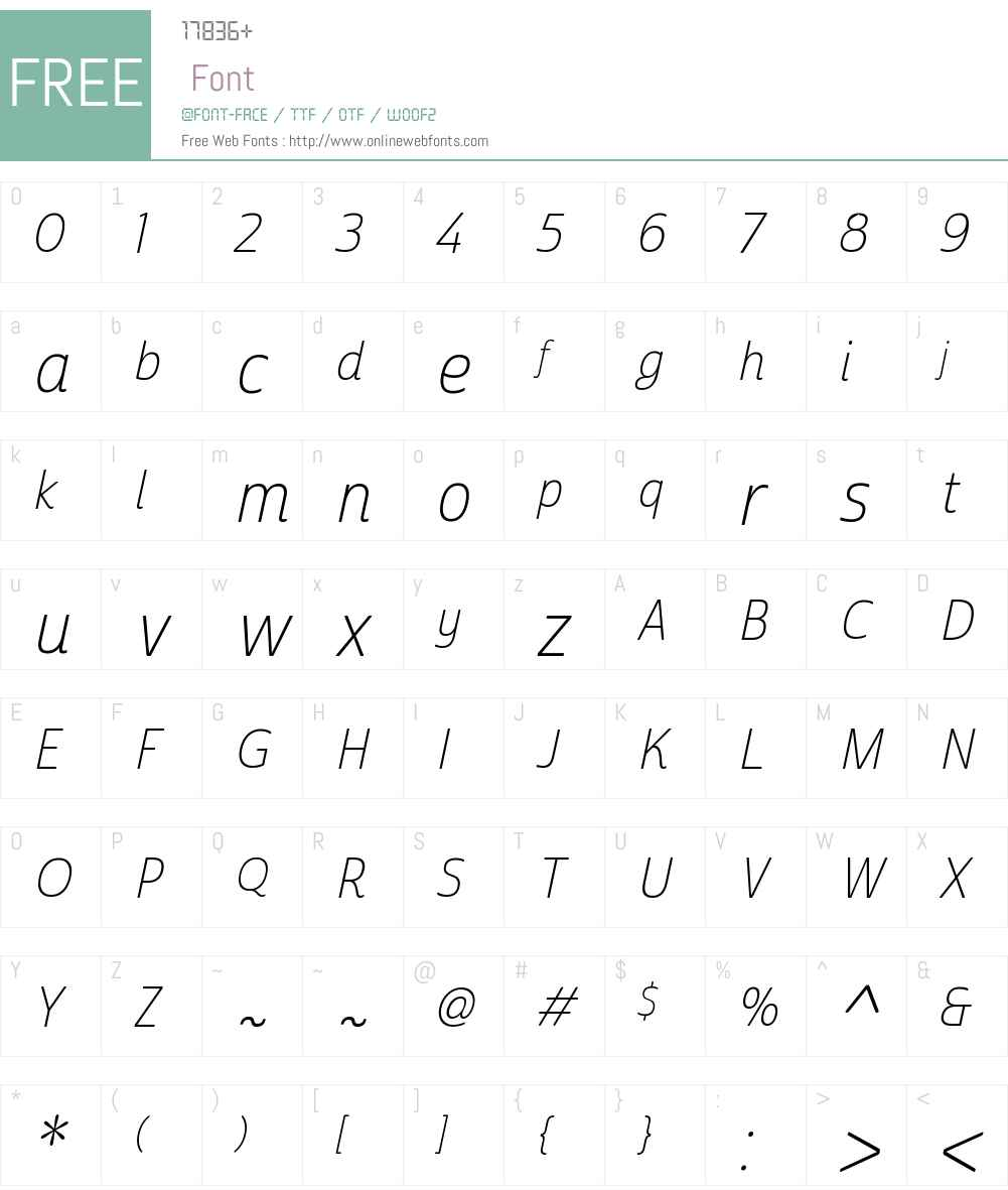 CabritoSansW01-CondThinItal Font Screenshots