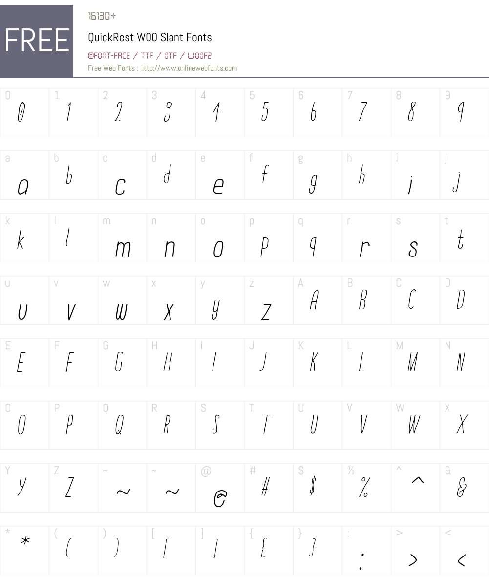 QuickRestW00-Slant Font Screenshots