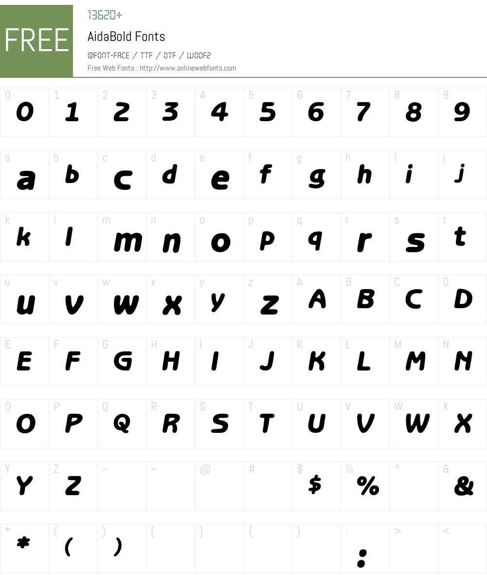 AidaBold Font Screenshots