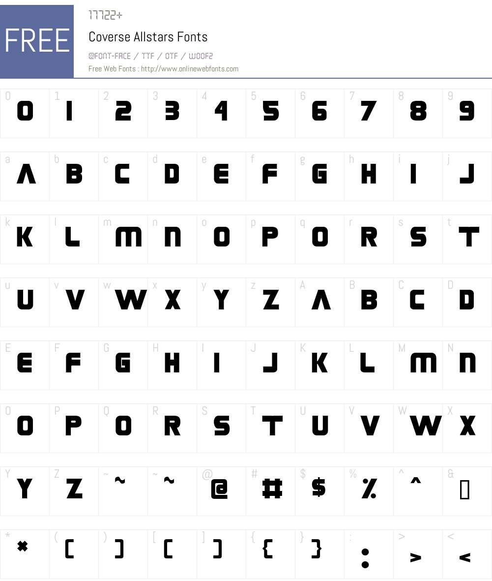 Coverse Allstars Font Screenshots