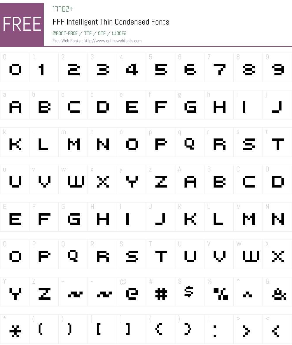 FFF Intelligent Thin Condensed Font Screenshots