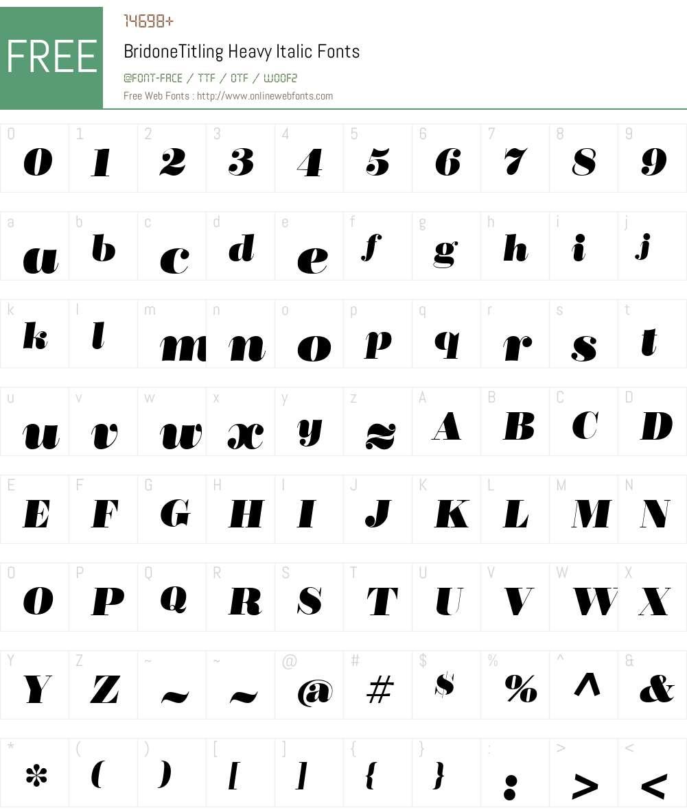 BridoneTitlingHeavy-Italic Font Screenshots